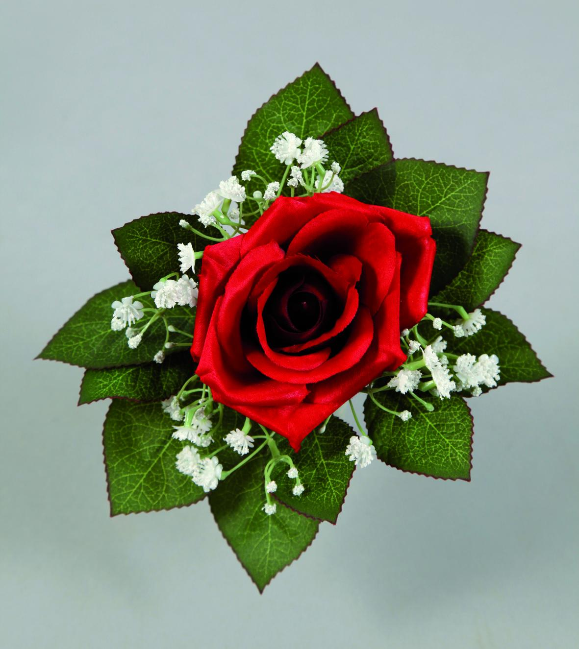 Image D Une Rose Rouge bouquet d'une rose rouge et de gypsophile blanc artificiel h21cm